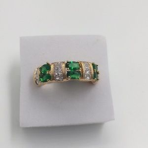 14K yellow gold plated emerald White topaz size 10